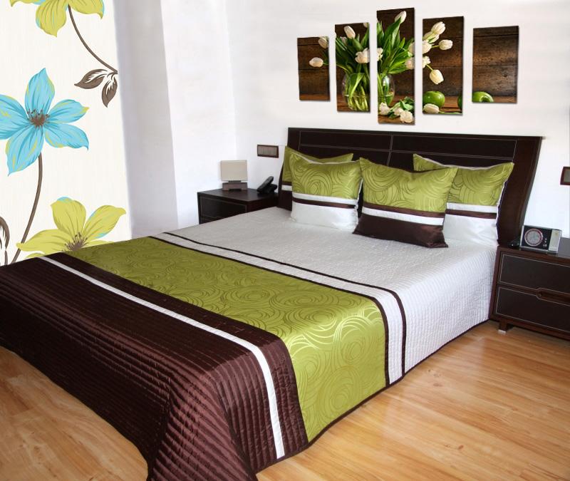 oboustranný luxusní přehoz béžový se vzorem růží přehozy na postel