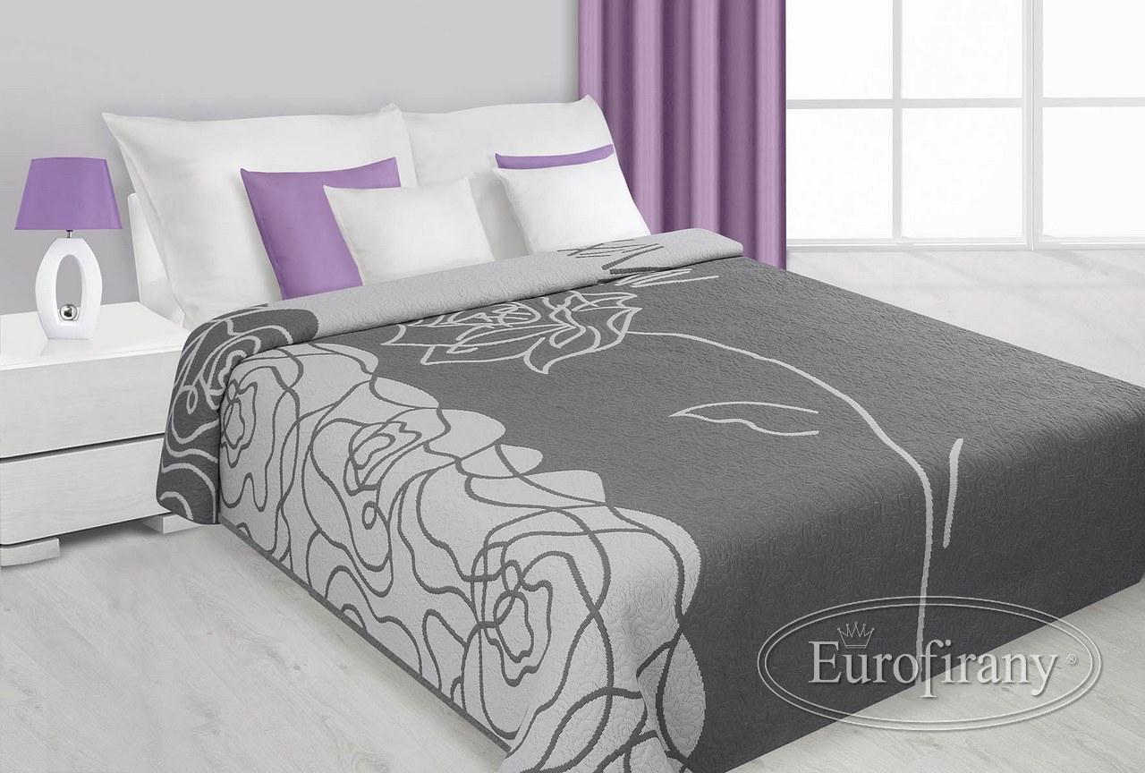 oboustranný luxusní přehoz šedý se vzorem růží přehozy na postel