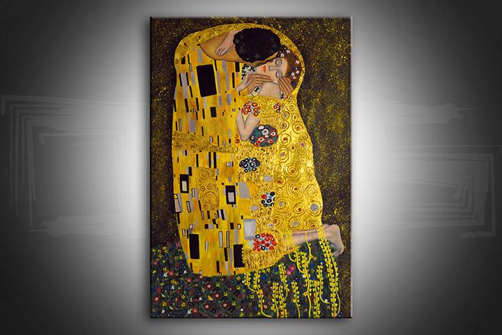Obraz na plátně POLIBEK – Gustav Klimt reprodukce 50x30 cm