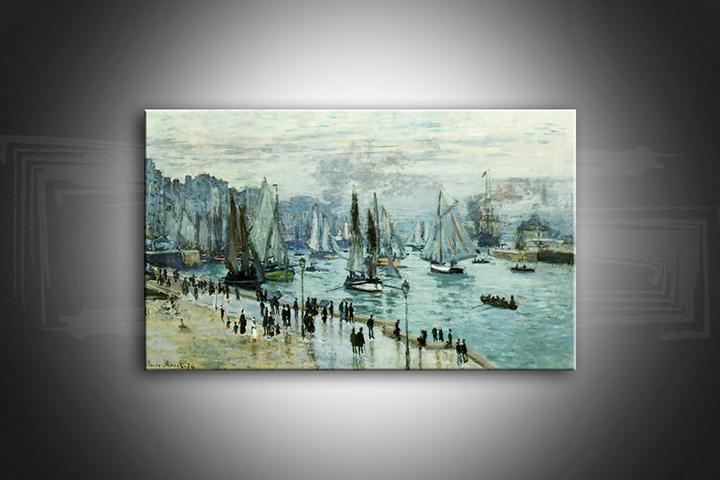 Obraz na plátně RYBÁŘSKÉ LODĚ OPUSTILI PŘÍSTAV LE HAVRE – Claude Monet reprodukce 100x60 cm