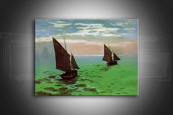 Obraz na plátně RYBÁŘSKÉ LODĚ NA MOŘI – Claude Monet reprodukce 80x50 cm
