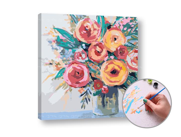 Levně Malování podle čísel RADOST Z KVĚTIN - nízká náročnost 50x50 cm