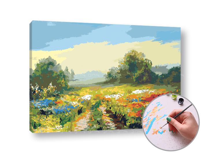 Levně Malování podle čísel POLNÍ CESTA - vysoká náročnost