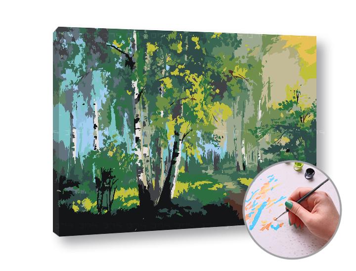 Levně Malování podle čísel PROCHÁDZKA LESEM - nízká náročnost