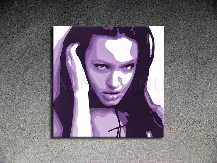 Ručně malovaný POP Art Angelina Jolie 1 dílný 100x100cm POP ART obrazy