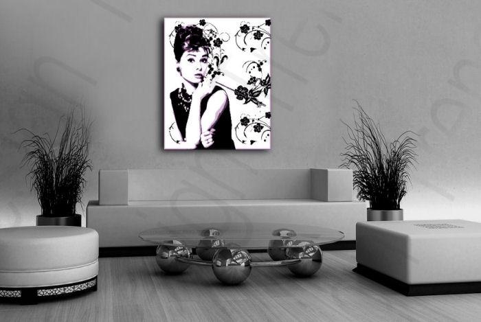 Ručně malovaný POP Art Audrey Hepburn 80x100 cm POP ART obrazy