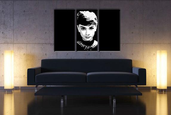 Ručně malovaný POP Art Audrey Hepburn 3 dílný 120x80cm POP ART obrazy