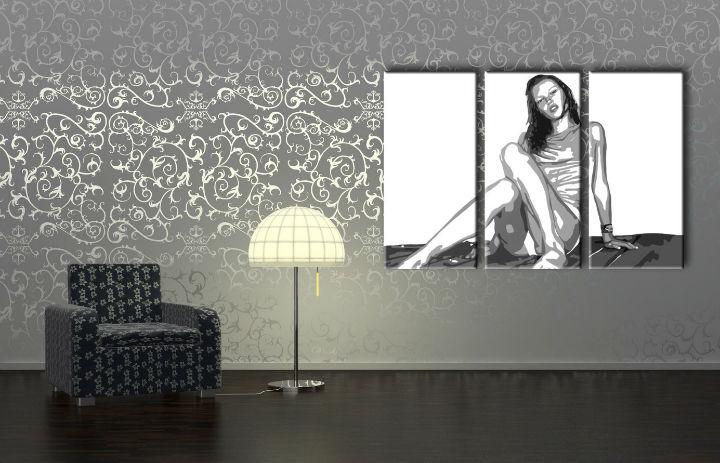 Ručně malovaný POP Art Kate Moss 3 dílný 120x80cm POP ART obrazy