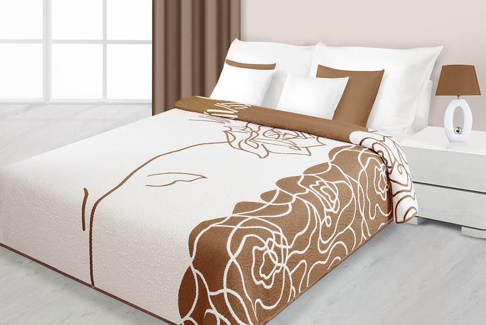 OBOUSTRANNÝ LUXUSNÍ PŘEHOZ KRÉMOVĚ - SVĚTLE HNĚDÝ SE VZOREM RŮŽÍ 220x240 cm přehozy na postel