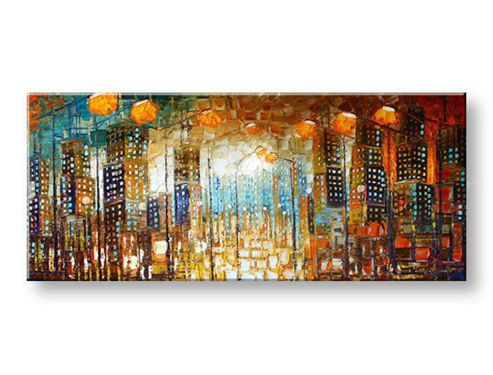 Ručně malovaný obraz 1 dílný MĚSTO BI0003E1 malované obrazy BIANCA