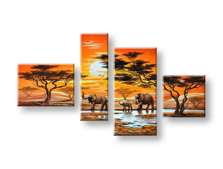 Ručně malovaný obraz na zeď AFRIKA FB125E4 malované obrazy FABIO