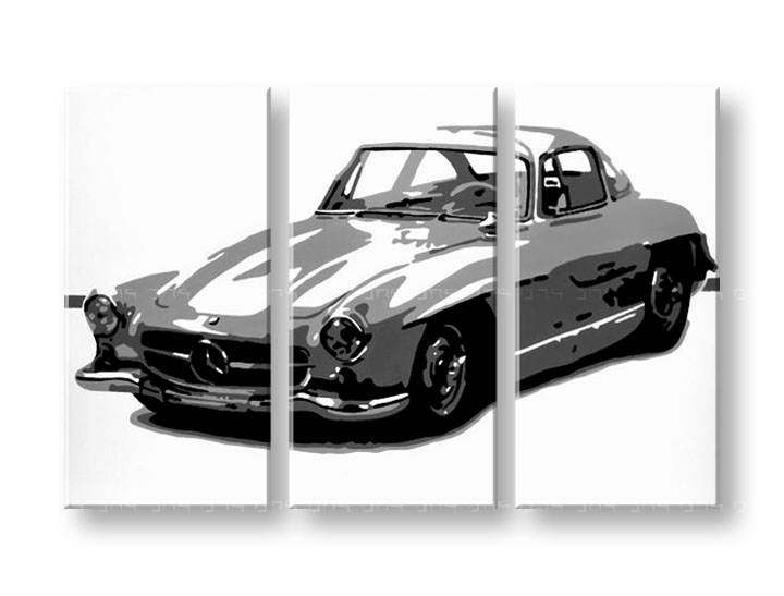 POP Art Mercedes  Benz 300SL 3 dílný 120x80cm mer