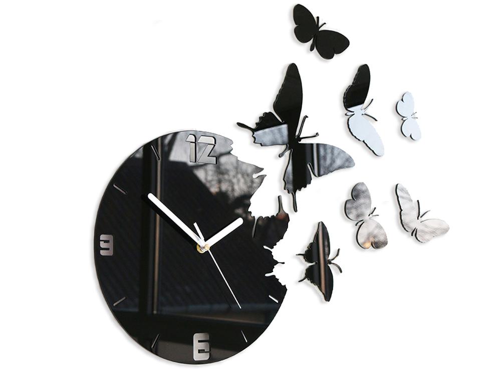 Moderní nástěnné hodiny MOTÝLE NH003 nalepovací hodiny na stěnu