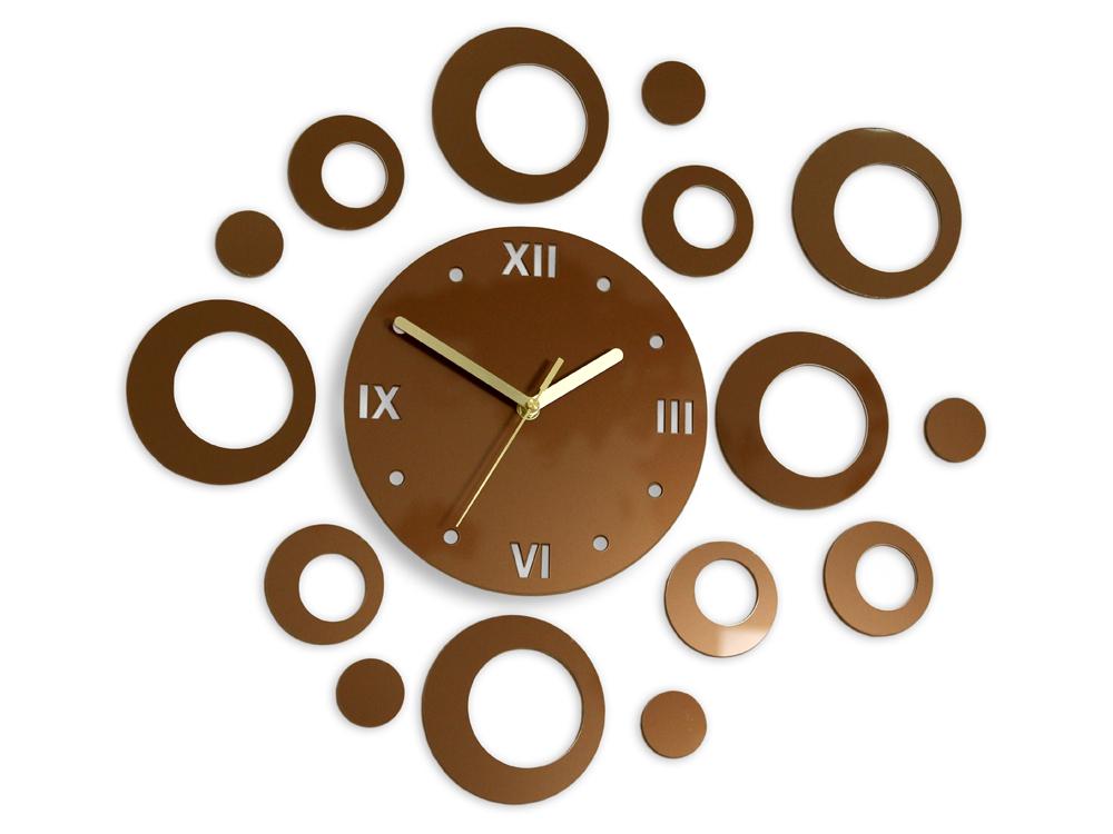 Levně Moderní nástěnné hodiny RINGS COPPER HMCNH008-copper