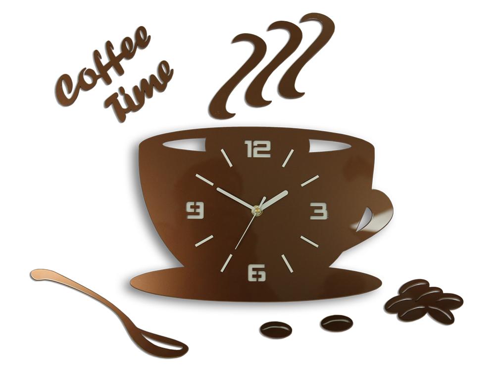 Levně Moderní nástěnné hodiny COFFE TIME 3D COPPER HMCNH045-copper