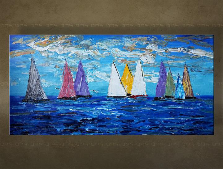 Ručně malovaný obraz na stěnu MOŘE BI133E1 malované obrazy BIANCA