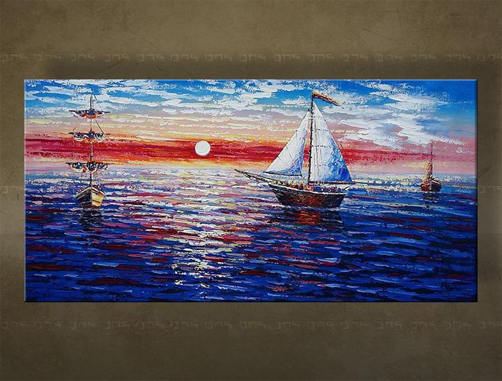 Ručně malovaný obraz na stěnu MOŘE BI134E1 malované obrazy BIANCA