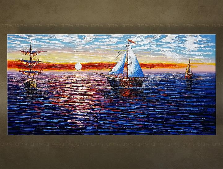 Ručně malovaný obraz na stěnu MOŘE BI142E1 malované obrazy BIANCA