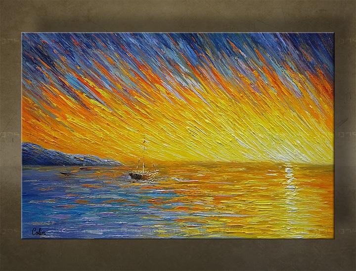 Ručně malovaný obraz na stěnu MOŘE BI168E1 malované obrazy BIANCA