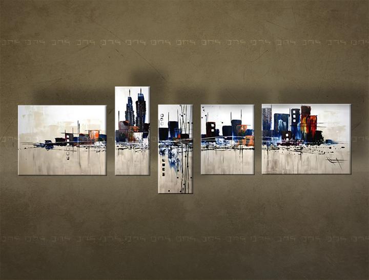 Ručně malovaný obraz na zeď MĚSTO FB202E5 malované obrazy FABIO