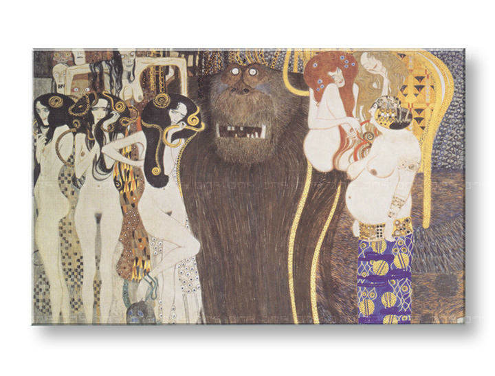 Obraz na plátně THE BEETHOVEN FRIEZE – Gustav Klimt REP038