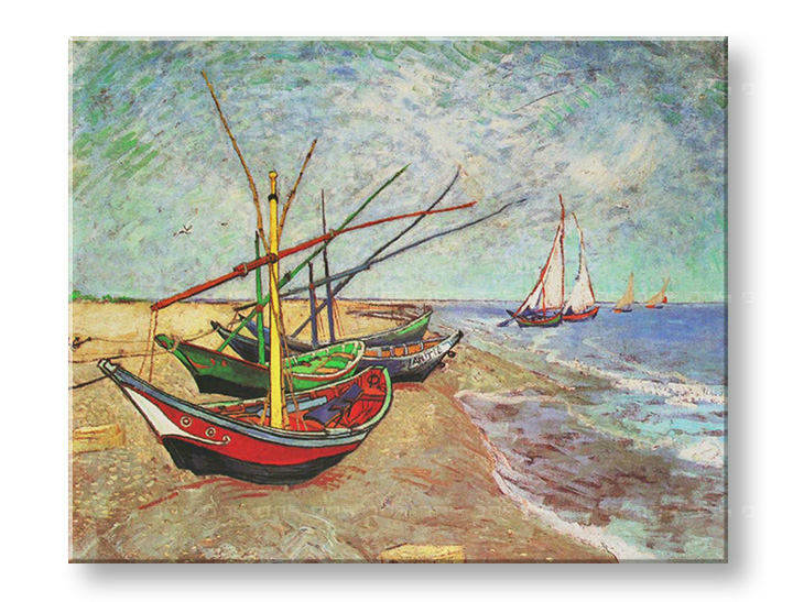Obraz na plátně FISHING BOATS ON THE BEACH AT SAINTS-MARIES – Vincent van Gogh R