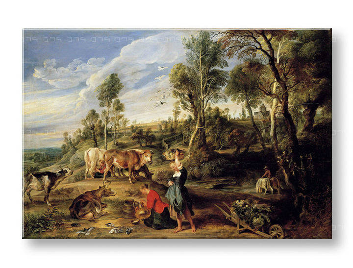 Obraz na plátně MILKMAIDS WITH CATTLE IN A LANDCAPE – Peter Paul Rubens REP154