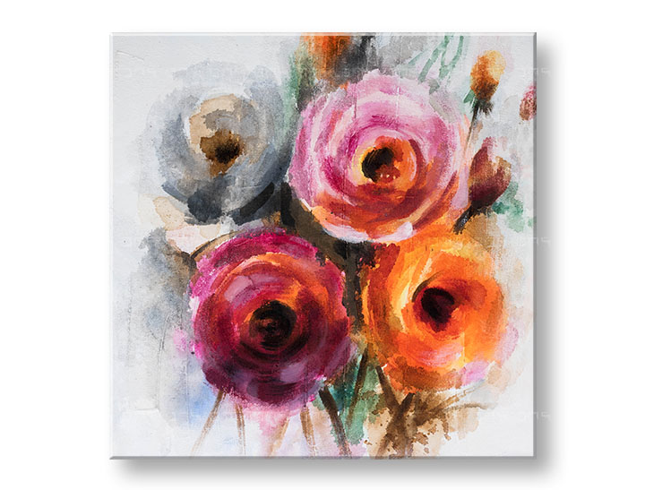 Levně Malovaný obraz na stěnu KVĚTINY 1 dílný CFAFL017 - 70x70 cm
